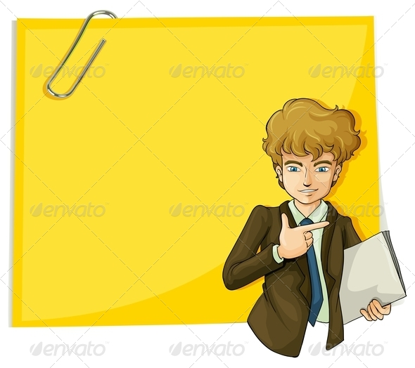 GraphicRiver Boy in Front of an Empty Paper with a Clip 8022302