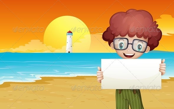 GraphicRiver Boy at the Beach Holding Empty Signage 8022306