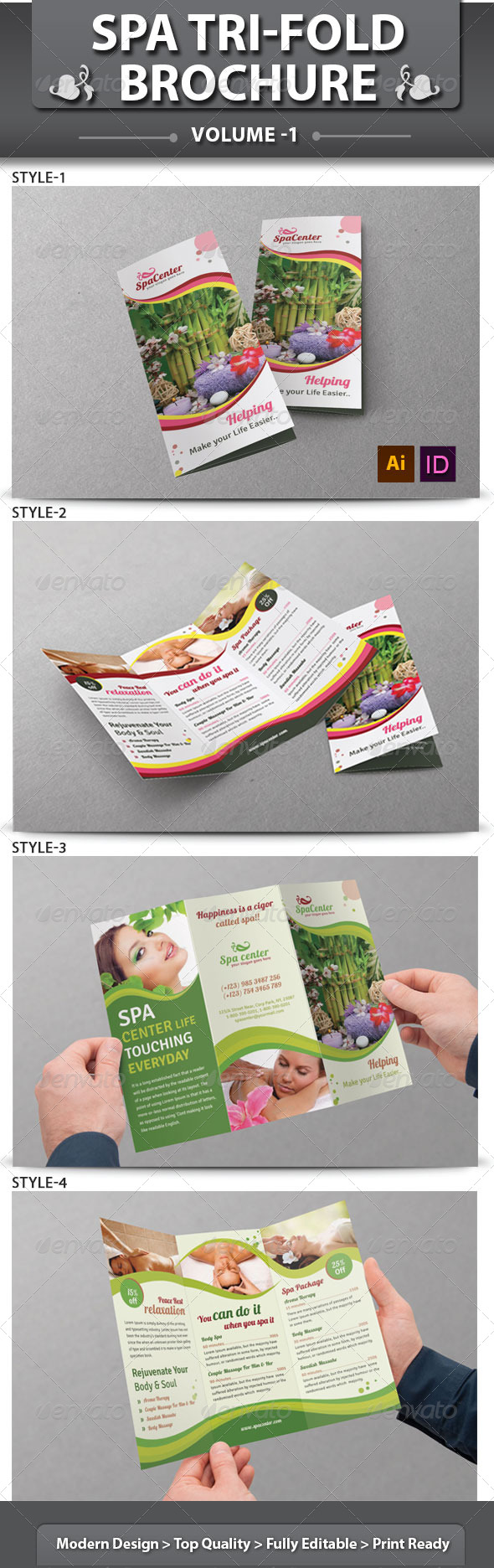Spa & Beauty Saloon Tri-fold Brochure Volume 14