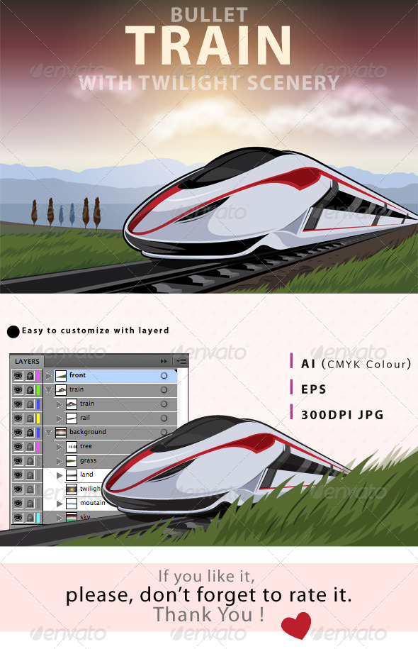 GraphicRiver Bullet Train With Twilight Scenery 8002757