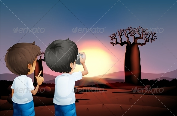 GraphicRiver Two Boys Taking Photos at the Desert 8022315