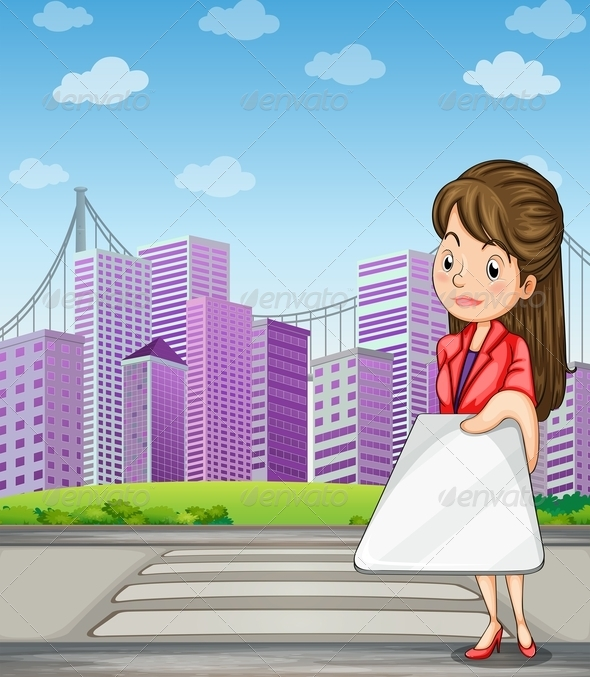 GraphicRiver Woman Holding a Gadget in Front of Tall Buildings 8022317