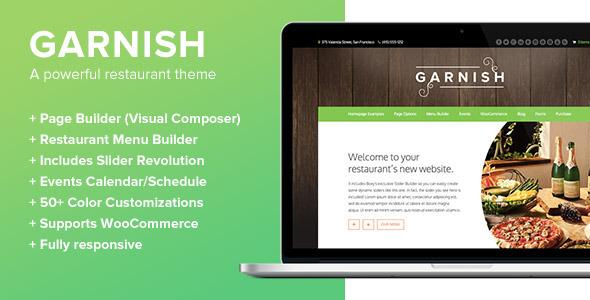 ThemeForest Garnish A WordPress Theme for Restaurants 7985827