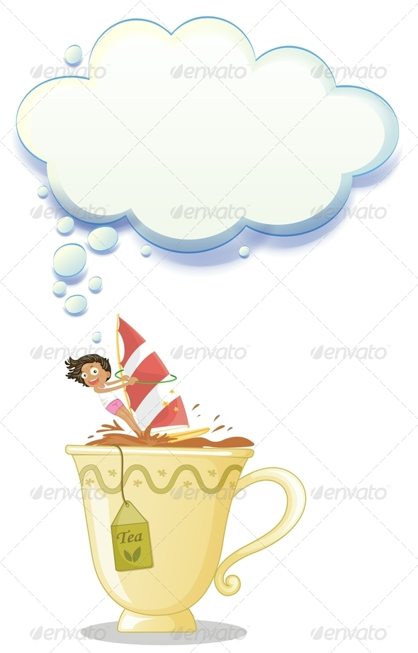 GraphicRiver Girl Sailing in a Big Mug of Tea 8022338
