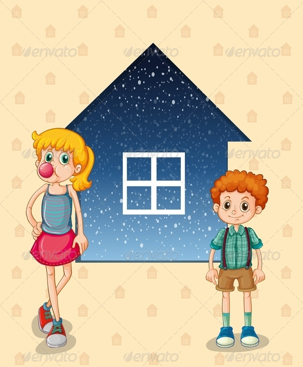 GraphicRiver Two Siblings in Front of a House 8022342