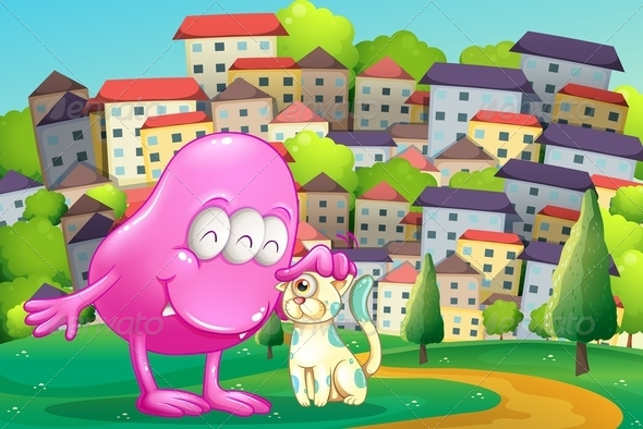 GraphicRiver Pink Monster Patting a Pet on a Hilltop 8022345