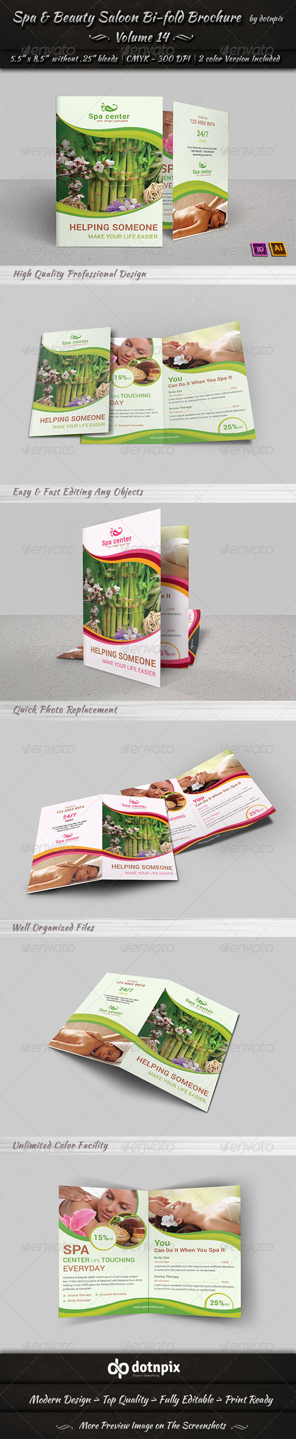 Spa & Beauty Saloon Bi-Fold Brochure Volume 14