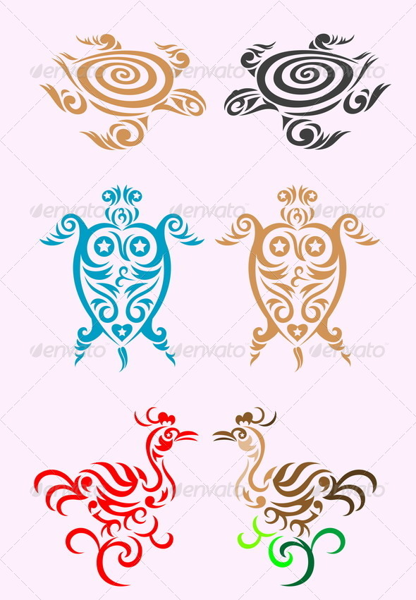 GraphicRiver Animal Set Tribal Art 8022464