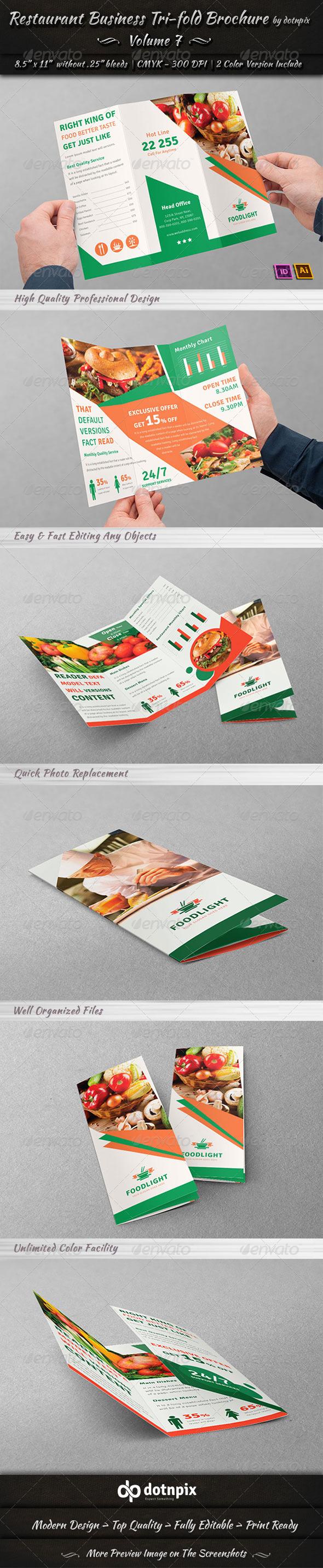 GraphicRiver Restaurant Business Tri-Fold Brochure Volume 7 8022479