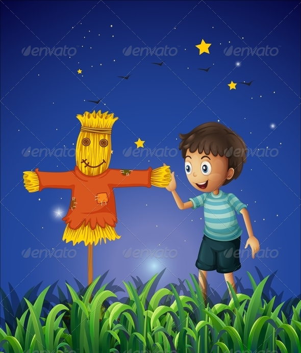 GraphicRiver Boy and a Scarecrow in a Ricefield 8022484