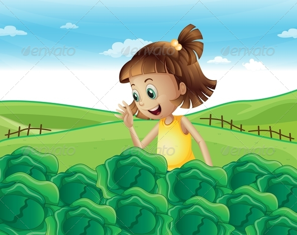 GraphicRiver Young Girl Watching the Growing Vegetables 8022518