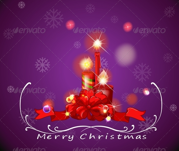 GraphicRiver A Purple Christmas Card with Red Candles 8022543