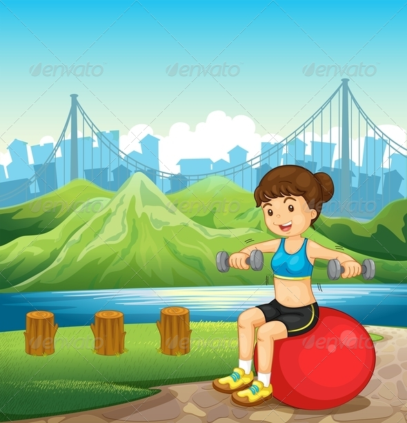 GraphicRiver A Girl Making Her Body Fit Near the River 8022544