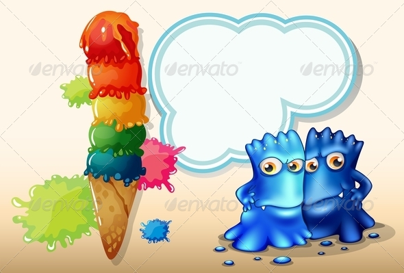 GraphicRiver A Giant Icecream Beside the Two Blue Monsters 8022546