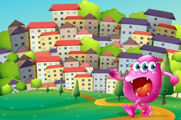 GraphicRiver A Monster Walking at the Hill Across the Building 8022548