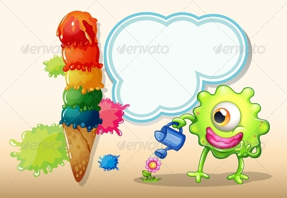 GraphicRiver A Giant Icecream Beside the Monster Watering the Plant 8022562