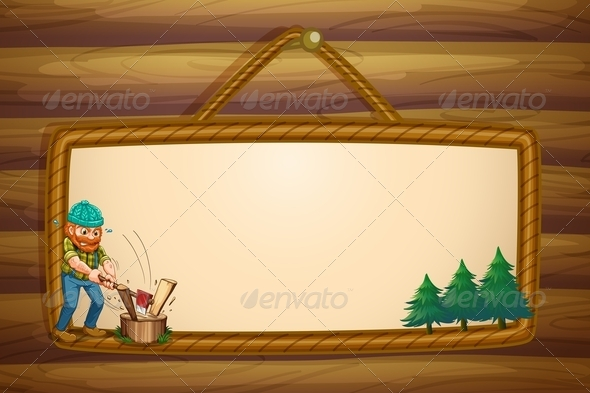 GraphicRiver A Woodman Chopping the Woods in Front of the Hang 8022564