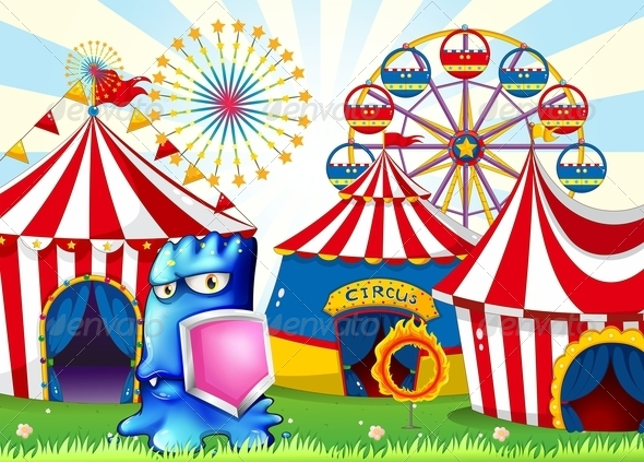 GraphicRiver A Carnival with A Blue Monster Holding a Shield 8022570