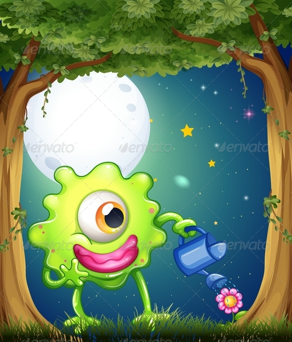 GraphicRiver A Monster Watering the Plants in the Middle of the Forest 8022620