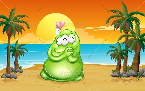 GraphicRiver A Beach With A Green Monster 8022623