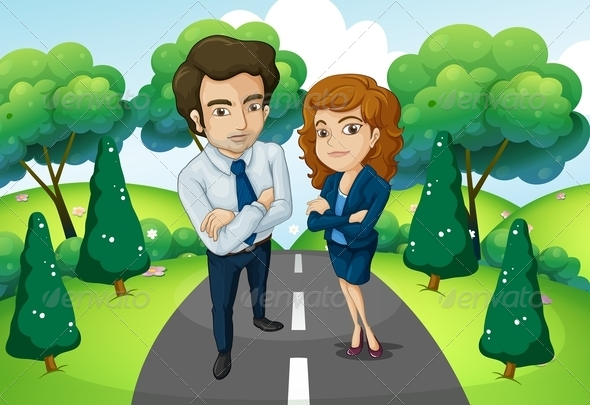 GraphicRiver A Male and a Female Standing in the Middle of the Forest 8022635