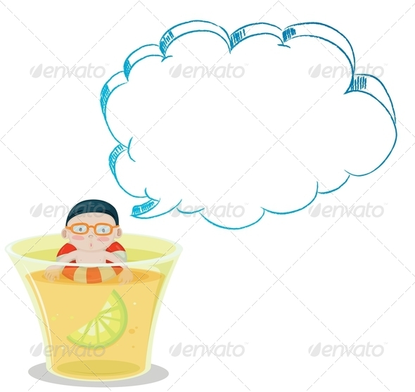 GraphicRiver A Big Glass with a Young Boy Swimming 8022637