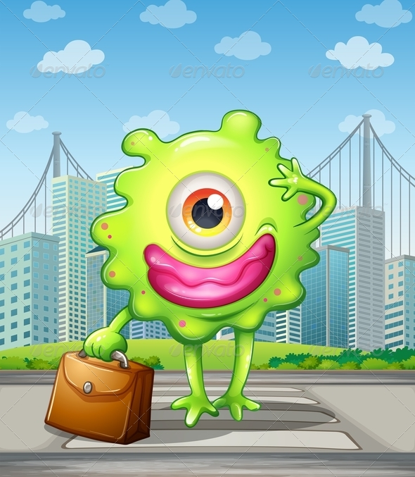 GraphicRiver A Monster with a Bag Crossing the Street 8022651