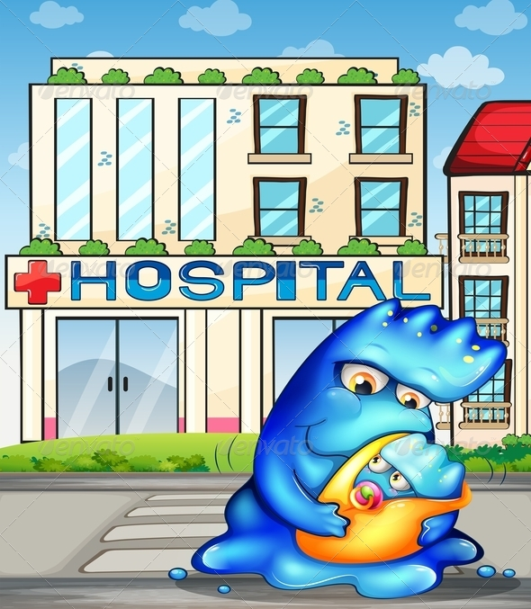 GraphicRiver A Monster with her Child in Front of the Hospital 8022678