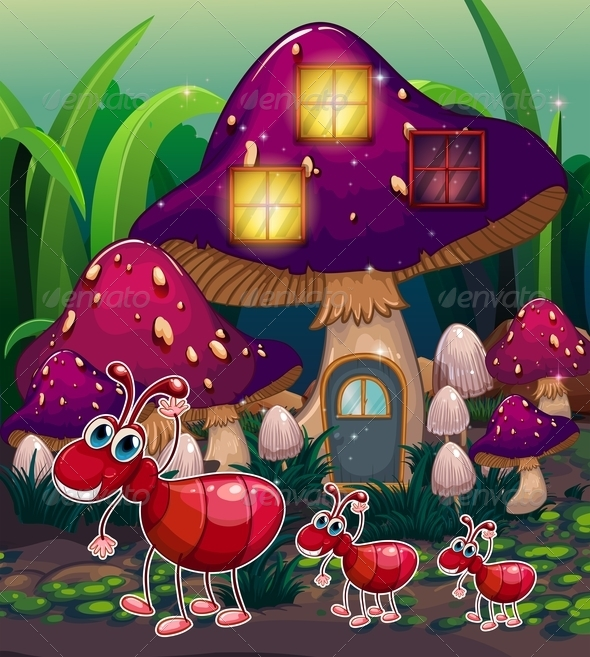 GraphicRiver A Colony of Ants near the Mushroom House 8022684