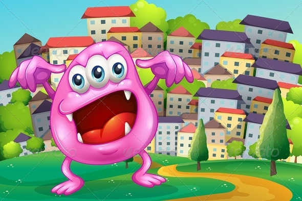 GraphicRiver A Beanie Monster Shouting at the Hilltop 8022714