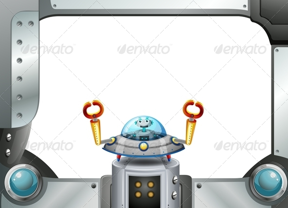 GraphicRiver A Metal Frame Border with a Robot Inside a Saucer 8022780