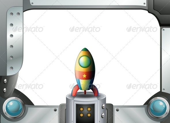 GraphicRiver A Metal Frame Border with a Spaceship 8022829