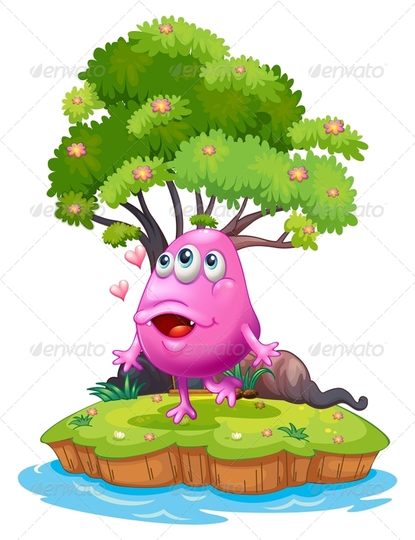 GraphicRiver An Island with a Pink Monster near the Giant Tree 8022910