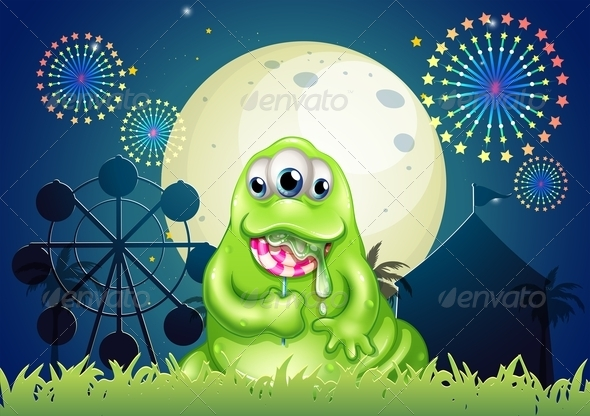 GraphicRiver A Monster Eating a Lollipop at the Amusement Park 8022957