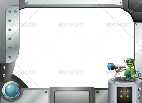 GraphicRiver A Metal Frame Border with a Robot and a Telescope 8023013