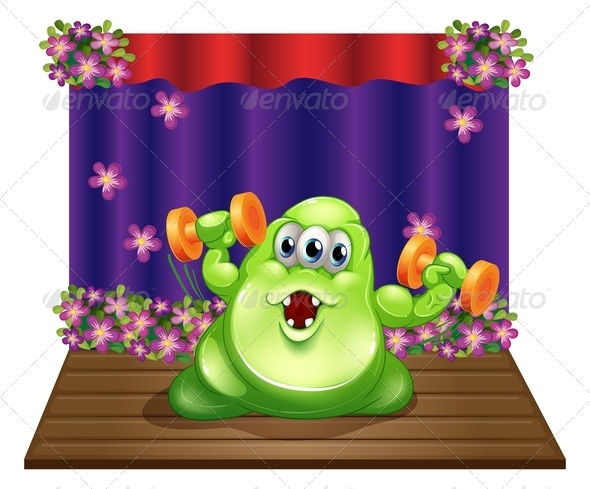 GraphicRiver A Stage with a Green Monster Exercising in the Center 8023051