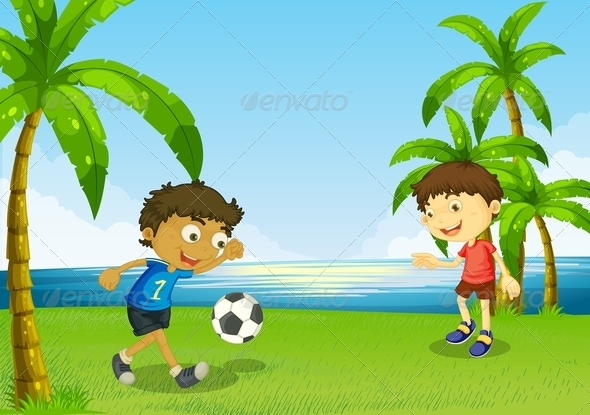 Boys Playing Football at the Riverbank