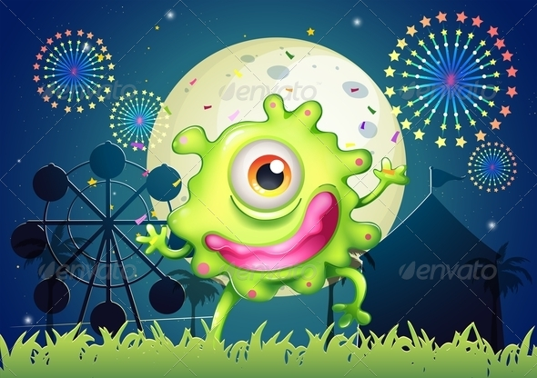 GraphicRiver A One-Eyed Green Monster at the Amusement Park 8023073