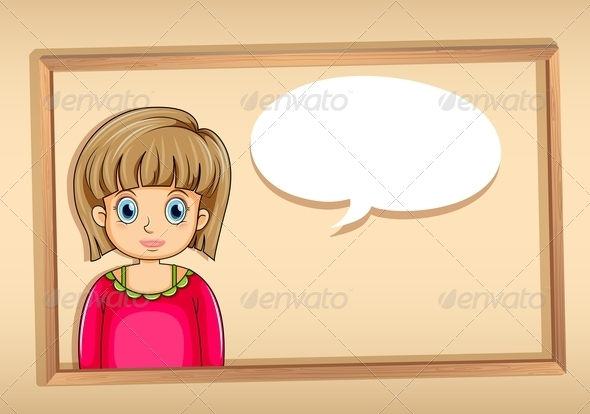 GraphicRiver A Frame with a Woman with an Empty Bubble Callout 8023074