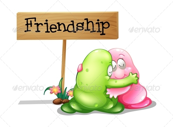 GraphicRiver A Green and a Pink Monster Hugging Near the Wooden Sign 8023078