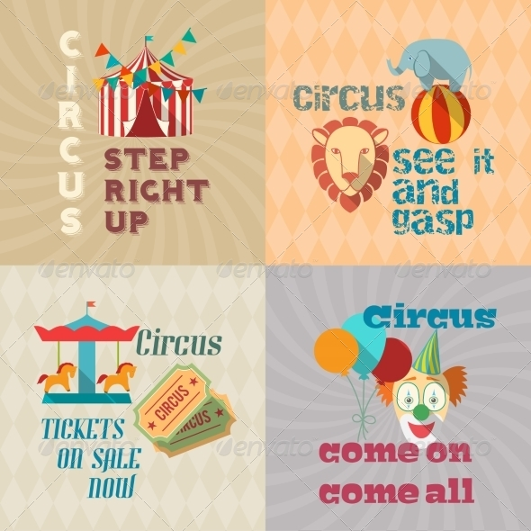 GraphicRiver Circus Vintage Flat Pictograms Composition 8023083