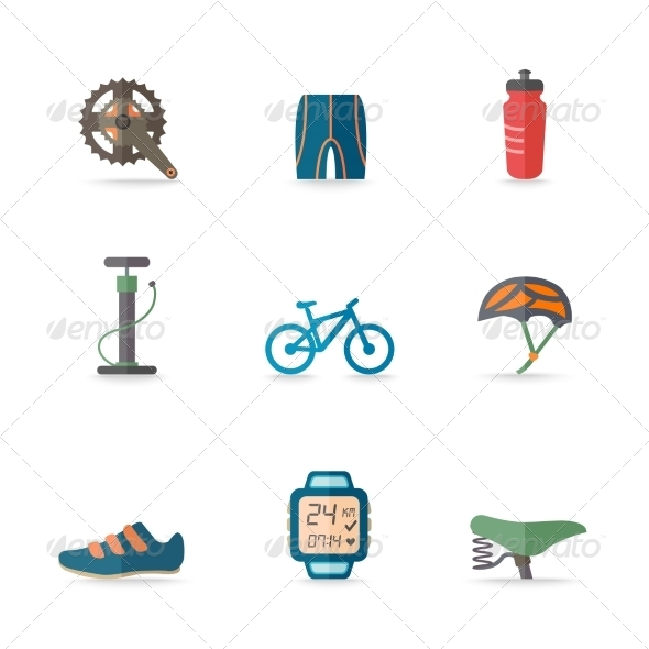 GraphicRiver Bike Icons Flat 8023090