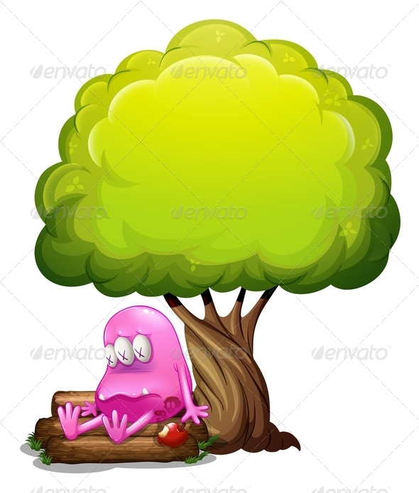 GraphicRiver A Poisoned Monster Sitting on the Log under the Tree 8023095