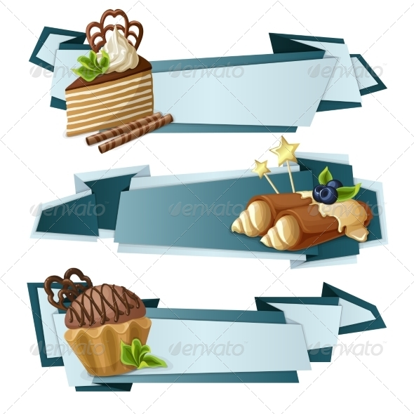 GraphicRiver Sweets Paper Banners 8023227