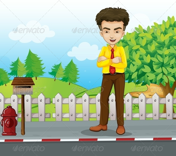 GraphicRiver A Smiling Tall Businessman Standing near the Mail 8023229