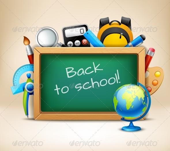GraphicRiver School Chalkboard Frame 8023241