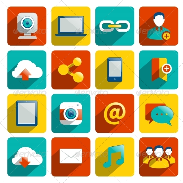 GraphicRiver Social Media Icons Flat 8023245