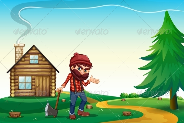 GraphicRiver Hill with a Wooden House and a Lumberjack 8023246