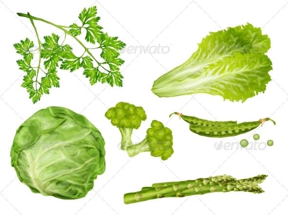 GraphicRiver Green Vegetables Set 8023254