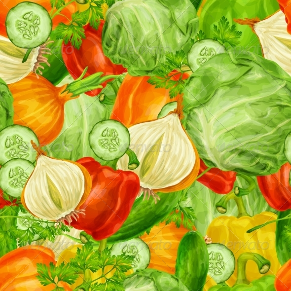 GraphicRiver Vegetables Mix Seamless Background 8023269